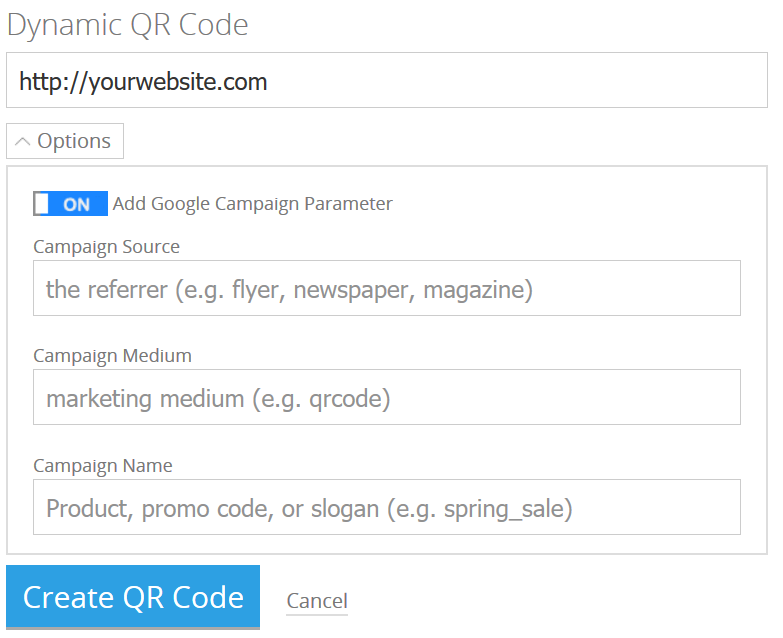 Add Google Campaign Parameters to QR Code